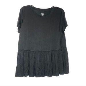 Mossimo Black Short Sleeve T-Shirt Ruffle Flow M